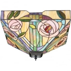 Interiors 1900 Tiffany Glass Willow large 2 light flush fitting
