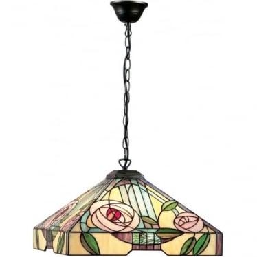 Tiffany Glass Willow large 3 light pendant
