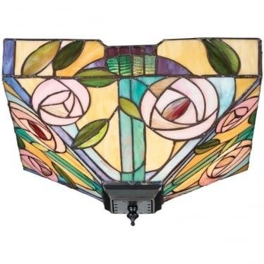 Tiffany Glass Willow medium 2 light flush fitting