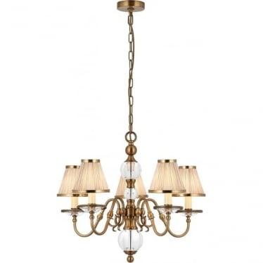 Tilburg 5 light pendant - Antique brass & beige shades
