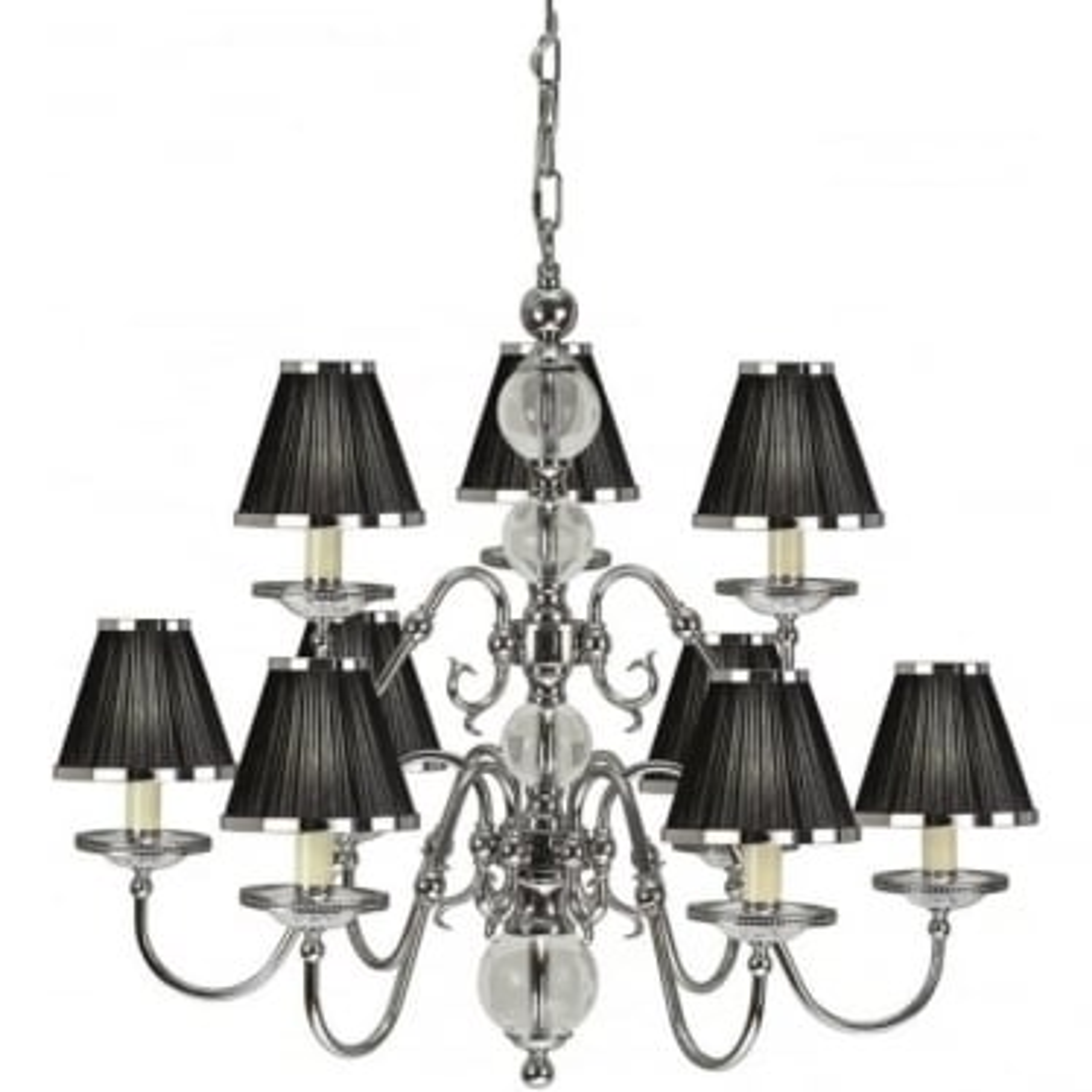 Tilburg 9 light pendant - Nickel & black shades