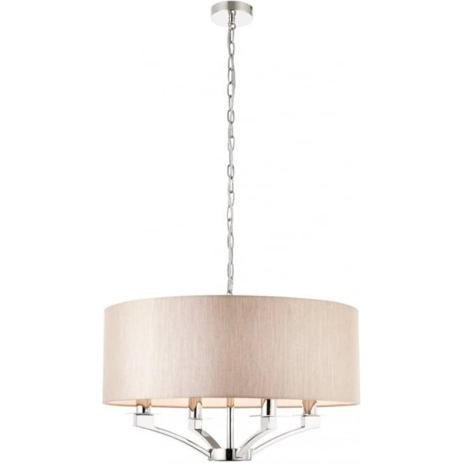 Interiors 1900 Vienna 4 light pendant - Nickel & beige shade