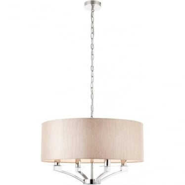 Vienna 4 light pendant - Nickel & beige shade