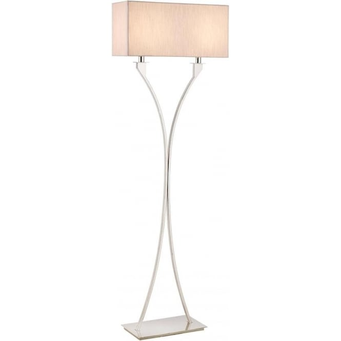 Interiors 1900 Vienna floor lamp - Nickel & beige shade