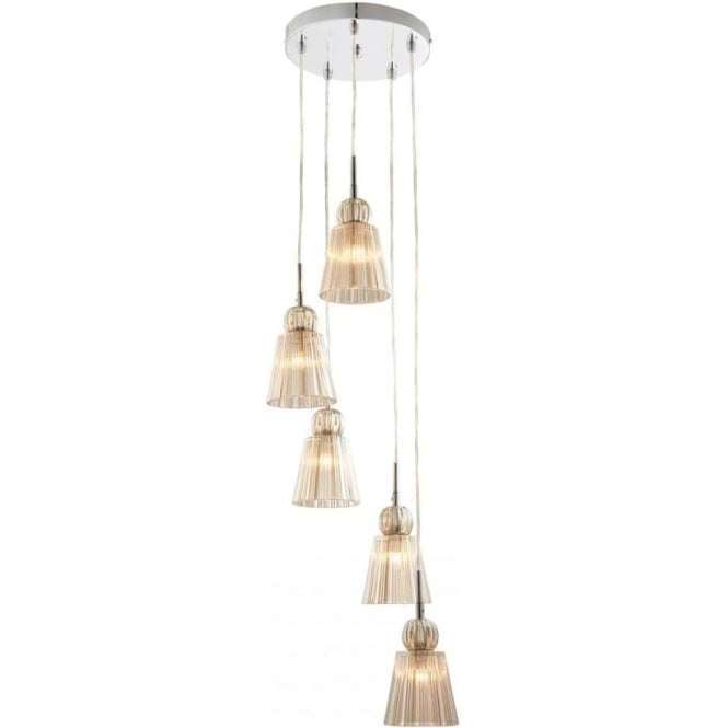 Endon Lighting Jannings 5 Light Pendant - Champagne Glass & Chrome Plate