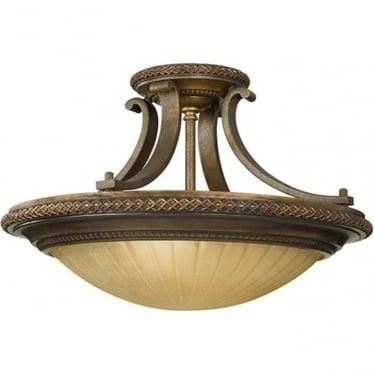Kelham Hall semi- flush fitting Firenze Gold/British Bronze