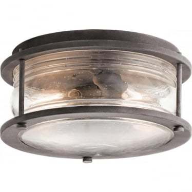 Ashland Bay 2 Light Outdoor Ceiling Flush Weathered Zinc