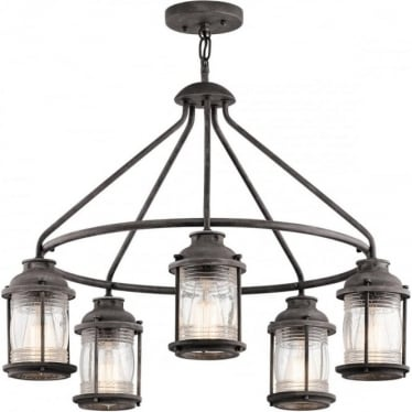 Ashland Bay 5 Light Outdoor Chandelier Weathered Zinc