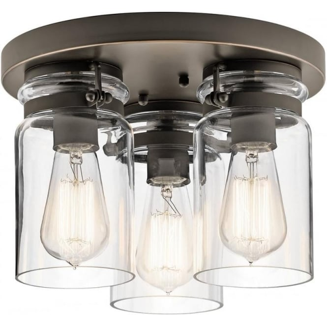 Kichler Brinley 3 Light Flush Mount Olde Bronze