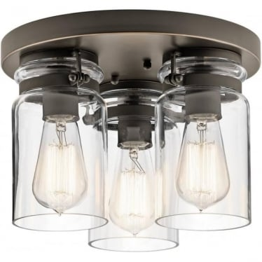 Brinley 3 Light Flush Mount Olde Bronze