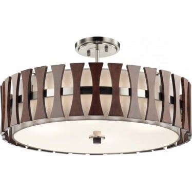 Cirus 4 Light Pendant/Semi Flush (convertible) Auburn Stained Wood