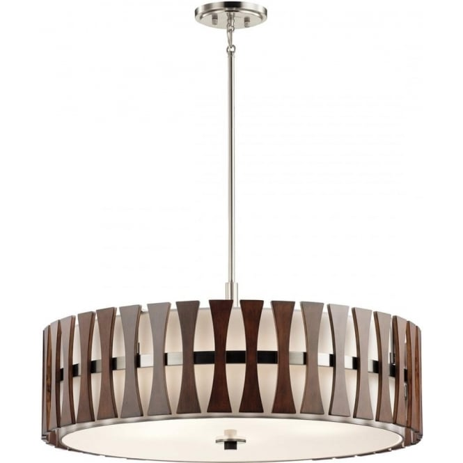 Kichler Cirus 5 Light Pendant/Semi Flush (convertible) Auburn Stained Wood