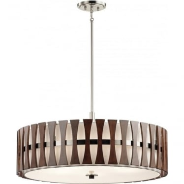 Cirus 5 Light Pendant/Semi Flush (convertible) Auburn Stained Wood