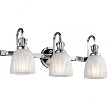 Cora 3 Light Bathroom LED Wall Light Polished Chrome
