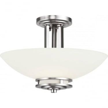 Hendrik 2 Light Semi Flush Mounted Bathroom LED Ceiling Light IP44 Polished Chrome