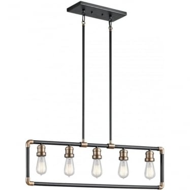 Imahn 5 Light Linear Chandelier  Black and Natural Brass