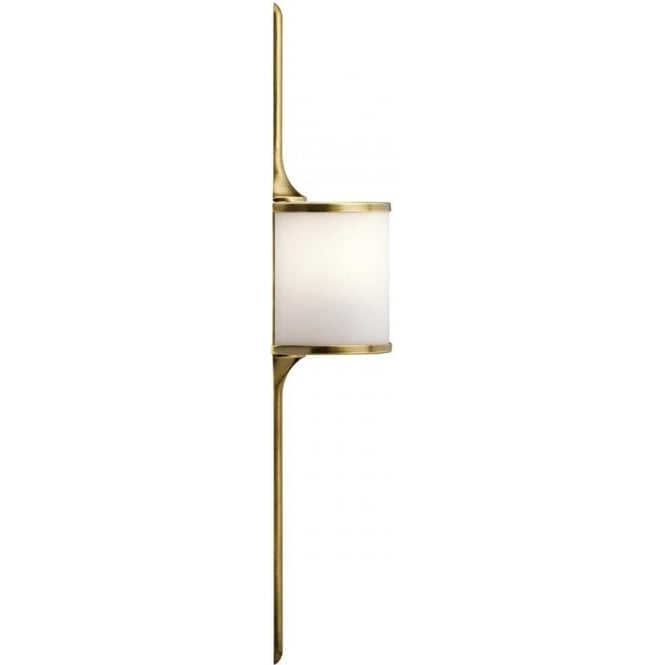 Kichler Mona 2 Light Bathroom LED Wall Light IP44 Natural Brass - Small