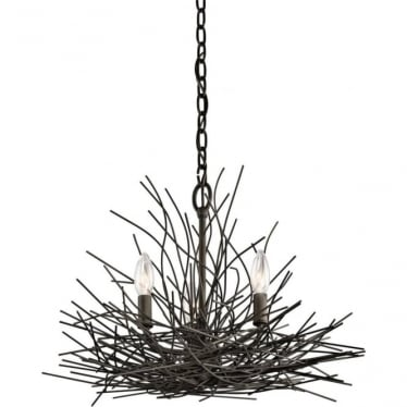 Organique 3 Light Mini Chandelier Olde Bronze