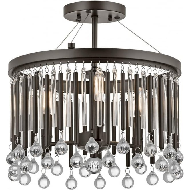 Kichler Piper 3 Light Semi Flush Espresso