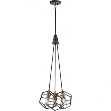 Rocklyn 3 Light Chandelier Raw Steel