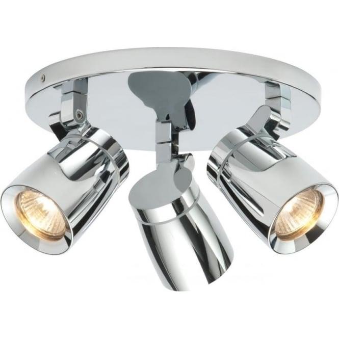Endon Lighting Knight 3 light round Ceiling Light IP44  - Chrome Finish