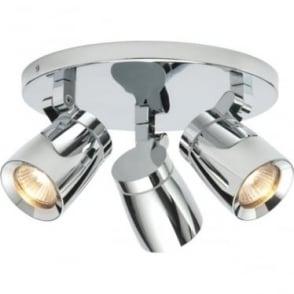 Knight 3 light round Ceiling Light IP44  - Chrome Finish