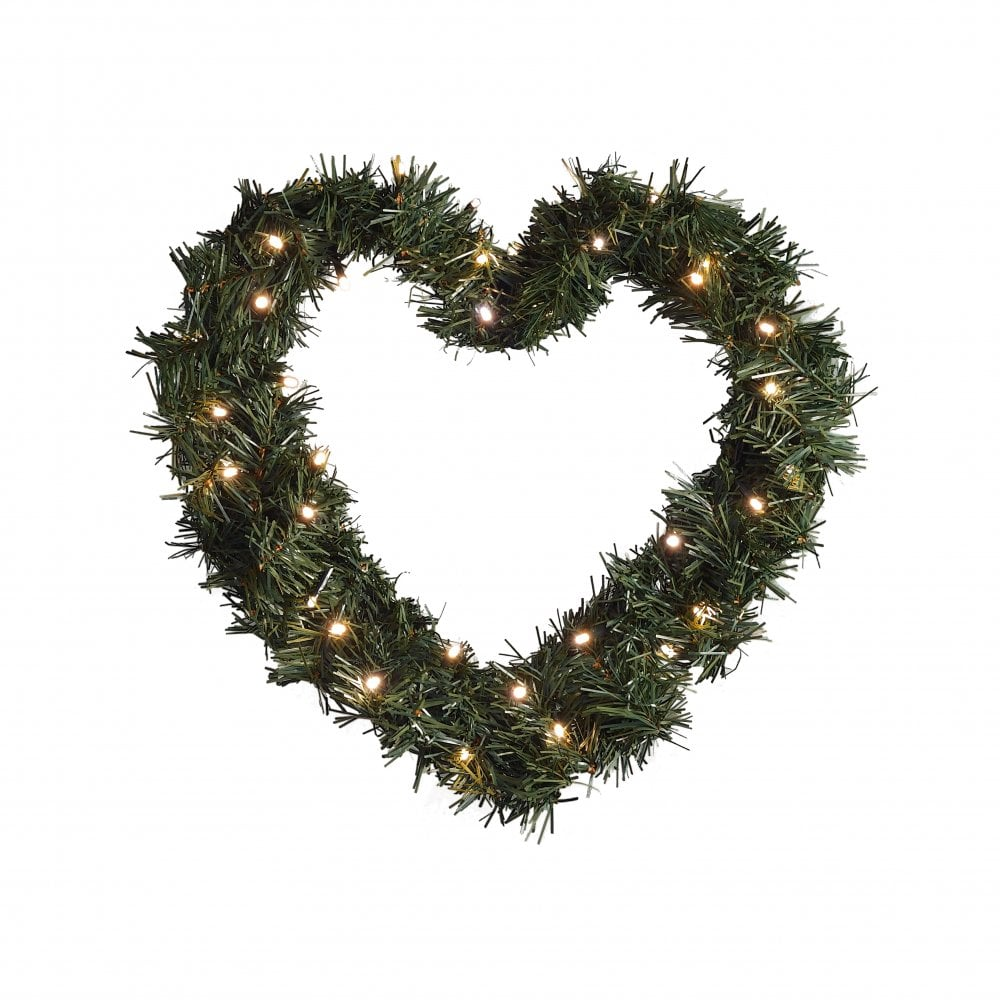 Christmas Heart Wreath.Battery Outdoor Heart Spruce Wreath 40 Amber Leds Timer Dusk Till Dawn Sensor