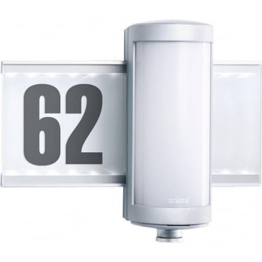 L 625 LED Wall light with house number & PIR - silver