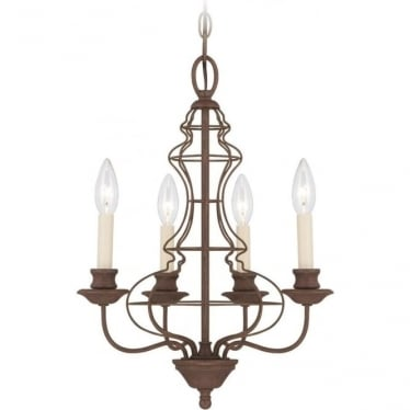 Laila 4 Light Chandelier Rustic Antique Bronze