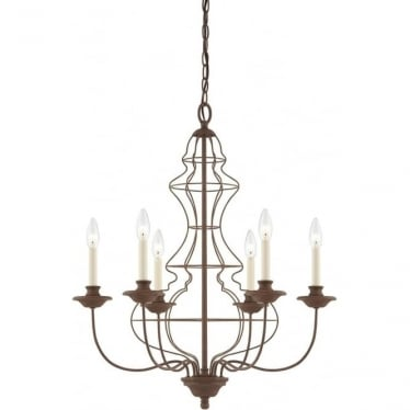 Laila 6 Light Chandelier Rustic Antique Bronze