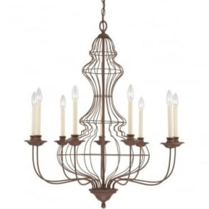 Laila 9 Light Chandelier Rustic Antique Bronze