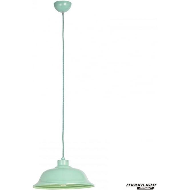 Endon Lighting Laughton Single light Pendant -  Light Green Finish