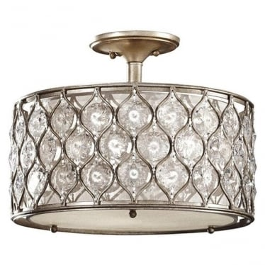 Lucia Semi-Flush Fitting Burnished Silver