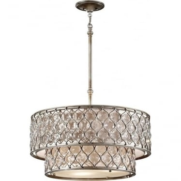 Lucia Two-tier Pendant Chandelier Burnished Silver