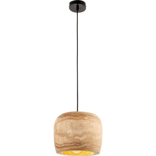 Endon Lighting Lucy Single Pendant -Wood 250mm