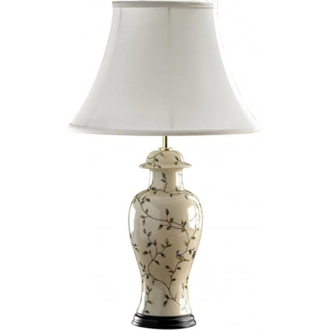 Elstead Lighting Lui's Collection Bird Crackle Temple Jar Table Lamp - Base only