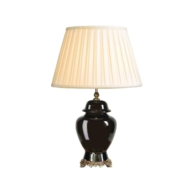 Elstead Lighting Lui's Collection Black Brass Temple Jar Table Lamp - Base only