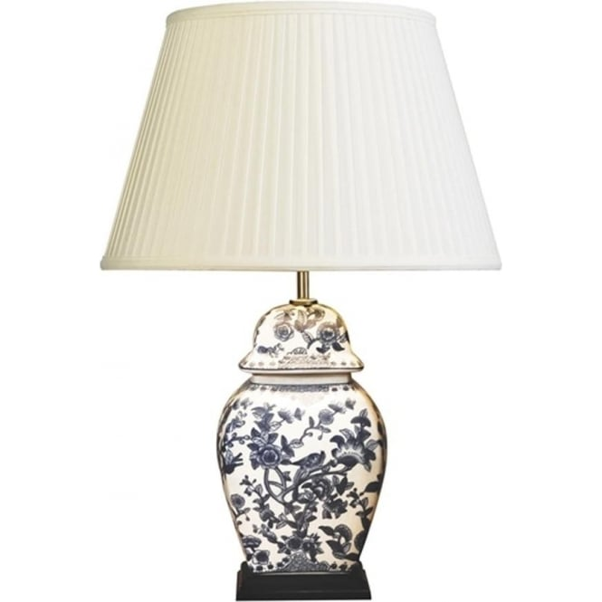 Elstead Lighting Lui's Collection Blue and White Floral Temple Jar Table Lamp - Base only