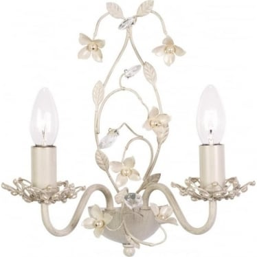 Lullaby 2 light wall fitting - cream brushed gold, clear & pearl acrylic