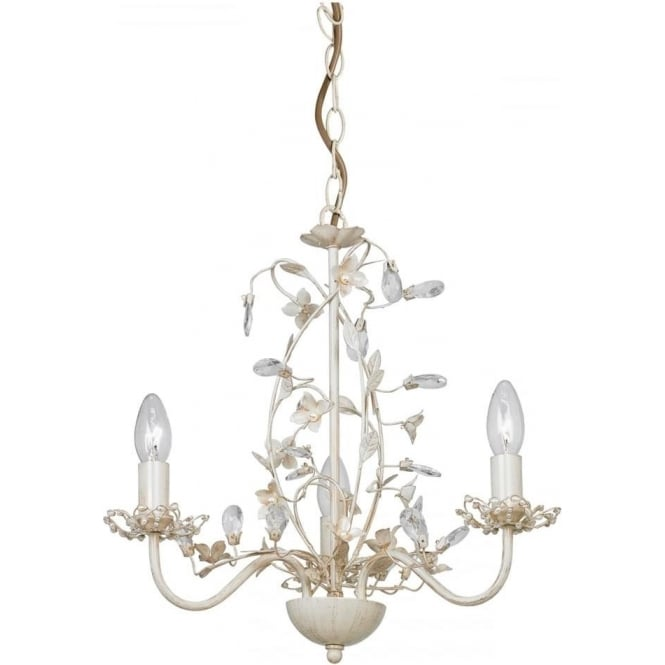Endon Lighting Lullaby 3 Light Pendant - Cream Brushed Gold, Clear & Pearl Acrylic