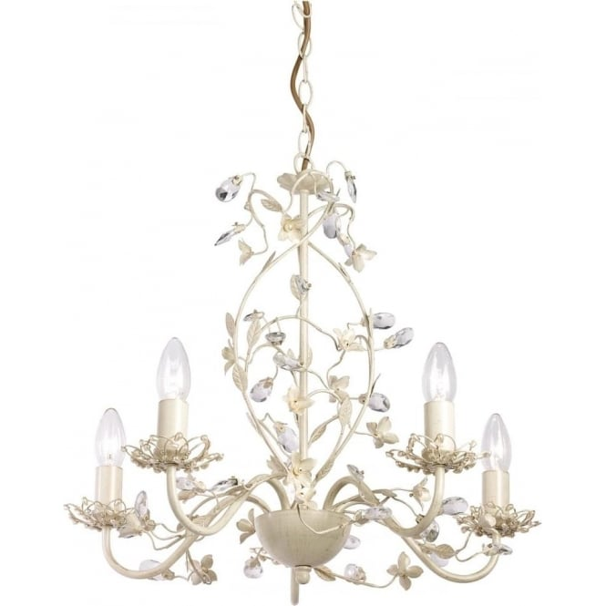 Endon Lighting Lullaby 5 light pendant - Cream brushed gold, clear & pearl acrylic