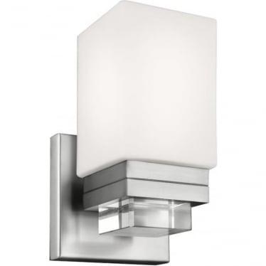 Maddison Single Light Bathroom LED Wall Light IP44 Satin Nickel