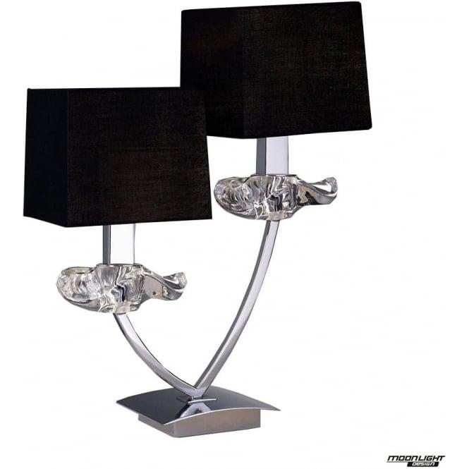 Mantra Akira 2 Light Table Lamp with Black Shades Polished Chrome