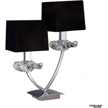 Akira 2 Light Table Lamp with Black Shades Polished Chrome