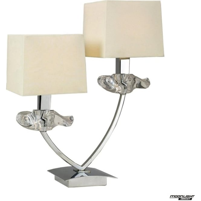 Mantra Akira 2 Light Table Lamp with Cream Shades Polished Chrome