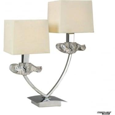 Akira 2 Light Table Lamp with Cream Shades Polished Chrome