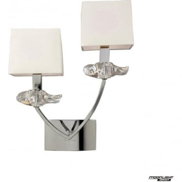 Akira 2 Light Wall Fitting Switched with Cream Shades Polished Chrome