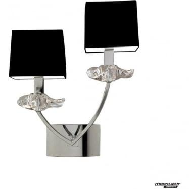 Akira 2 Light Wall Lamp with Black Shades Polished Chrome
