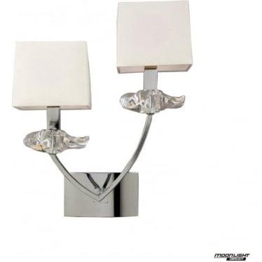 Akira 2 Light Wall Lamp with Cream Shades Polished Chrome