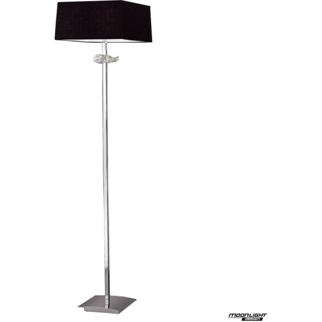 Mantra Akira 3 Light Floor Lamp with Black Shade Polished Chrome